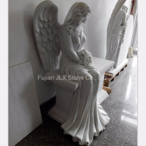 Chinese White Marble Sitting Angel Monument for Cemetery pictures & photos