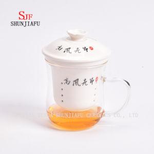 Creative Transparent Mug Glass & Ceramic Tea Infuser Cup pictures & photos