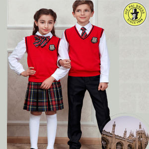 Red Beautiful V-Neck Cotton Vest School Uniform in Guangzhou pictures & photos