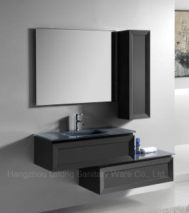 Shaker Door Black PVC Bathroom Cabinet with Glass Basin pictures & photos