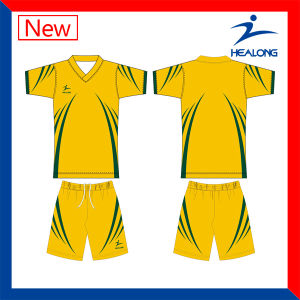 Healong Designer Dye Sublimation Conjoined Soccer Football Uniforms Shirts pictures & photos