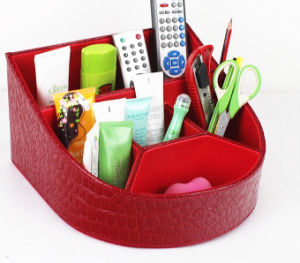 Red Leather Desktop Tool Storage Box pictures & photos