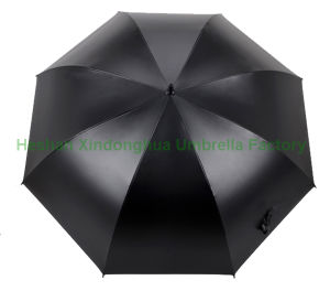 Quality Fiberglass Automatic Open Windproof Black Golf Umbrella (GOL-0027FAC) pictures & photos