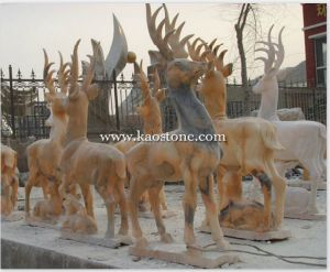 Brown Stone Animal Deer Sculptures pictures & photos