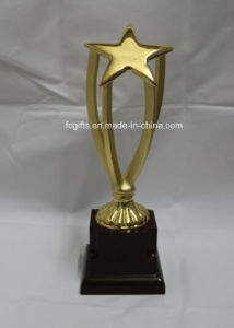 Highly Polished Metal Star Trophy with Wooden Base (JSJB2713)