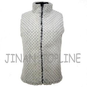 Women Reversible PU Coating Nylon Fake Fur Vest pictures & photos