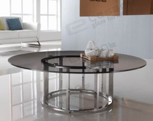 Round Grey Glass Table, Stainless Steel Base Table Ca822g pictures & photos