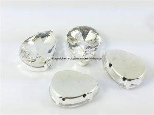 13X18mm Faceted Glass Sew on Pear Silver Set Crystals pictures & photos