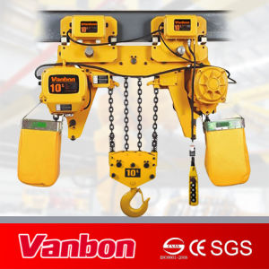 10 Ton Low-Headroom Type Electric Chain Hoist with Trolley (WBH-10004DL) pictures & photos