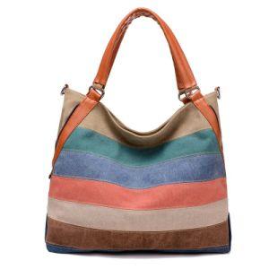 Factory Wholesale Fashion Rainbow Color Canvas Hand Bag pictures & photos