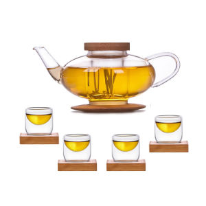 Bamboo Coaster Tea Pot Set Glass Coffee Set pictures & photos