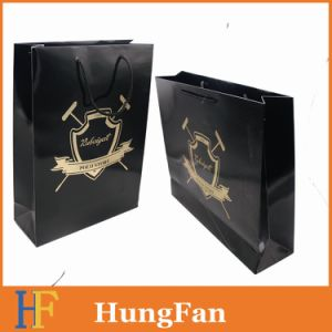 Large Size Landscape Paper Shopping Bags with Hotstamping Logo and Embossing pictures & photos