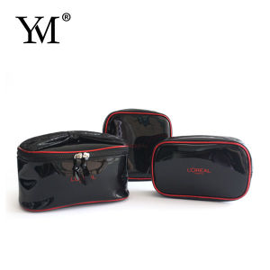 New Arrival Fashion Ladies Black PVC Cosmetic Bag Set pictures & photos