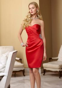 Satin Asymmetrically Draped Dress with Beading Homecoming Fashion Dresses (FD3013) pictures & photos
