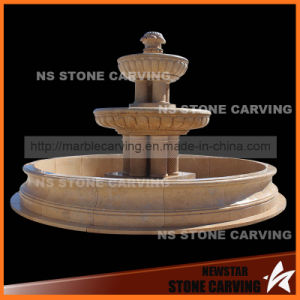 Yellow Marble Garden Fountain with Seven Pillars pictures & photos