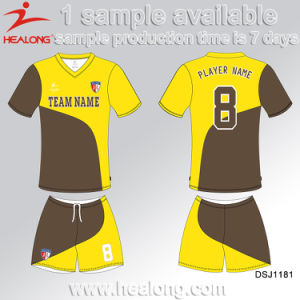 Healong Crew Neck Dye Sublimation Cheap Soccer Jerseys pictures & photos