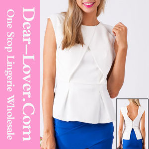 Womanly White Zipped Back Top with Peplum Detail pictures & photos