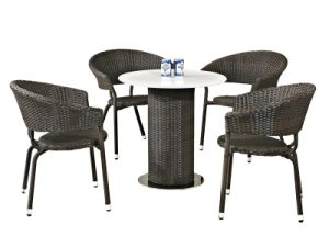 Outdoor Dinng Set Quartz Stone Table and Rattan Chairs pictures & photos