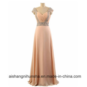 Floor-Length Beaded Bridesmaid Dress Straps Chiffon A-Line Crystals Party Dresses pictures & photos