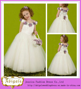 2014 Charming Ball Gown Spaghetti Straps Cap Sleeve with Hand-Made Flower Wedding Dress Flower Girl (hs006) pictures & photos