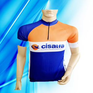 100% Polyester Man′s Short Sleeve Cycling Jersey pictures & photos