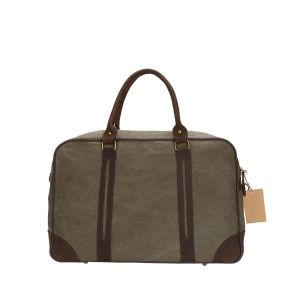2017 Fashion Large Leather Pure Cotton Canvas Travel Handbag (BDM184) pictures & photos