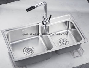 Stainless Steel Handmade Kitchen Sink with Soap Container (QW-M7643) pictures & photos