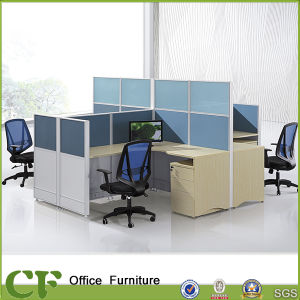 Classic Design High Partition Wall Wooden Workstation for 4 Person pictures & photos