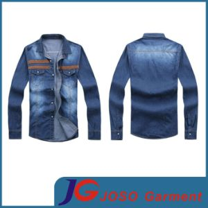 PU Leather Chest Patch Men Long Fashion Jean Dress (JC7038) pictures & photos