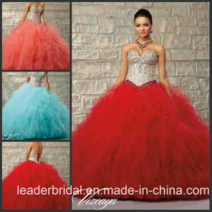 Coral Red Blue Ruffed Ball Gown Tulle Crystals Quinceanera Dress Ld15217 pictures & photos