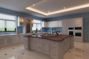 L Style White Solid Wood Kitchen Cabinet pictures & photos