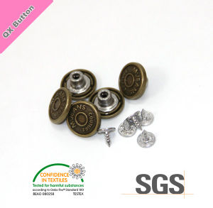 Customerized Fashion Zinc Alloy Metal Shank Jeans Button pictures & photos