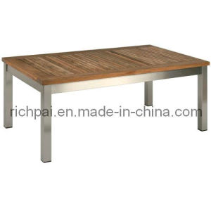 Stainless Steel and Teak Side Table (RPT011)