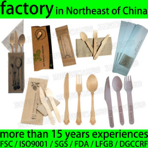 Take Away Restaurant Disposable Wood Knife Fork Spoon Tissue Set pictures & photos