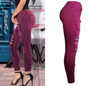 Spring Autumn Hot Sale Spandex Slim Wine Red Spliced Plain Pencil Lady′s Jeans Pants pictures & photos