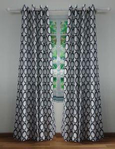 Flocked Polysilk Grommet Panel Curtain pictures & photos