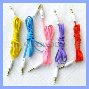 120cm Length 3.5mm Stereo Audio Male Flat Noodle Car Aux Cable pictures & photos