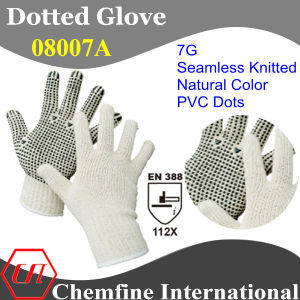 7g Natural Color Polyester/Cotton Knitted Glove with Black PVC Dots/ En388: 112X pictures & photos