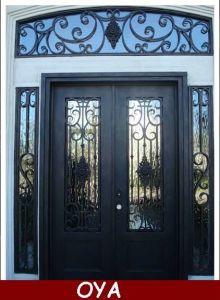 Exterior Metal Entrance Door Iron Door Grill Design (OYA 2140)