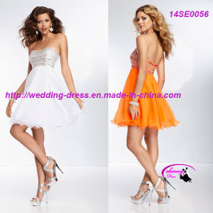 Popular Beading Chiffon Cocktail Party Dress with Wave Neckline pictures & photos