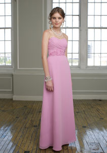 Baby Pink Chiffon Strapless Beaded Flower Bridesmaid Gowns (BD3022) pictures & photos