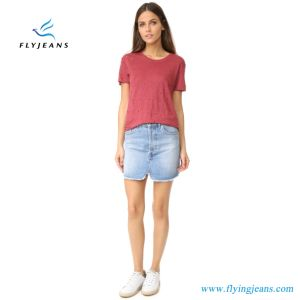 Monkey Washed Faded Skinny Women Denim Skirts (Jeans Miniskirts E. P. 519) pictures & photos
