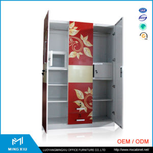 Mingxiu Low Price India Style Metal Wardrobe Cabinet / 3 Door Steel Wardrobe pictures & photos