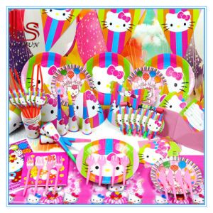 Food Grade Hellokitty Theme Children′s Party Supplies for 6 Person pictures & photos