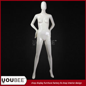 Abstract Egg Face Female Mannequin in Glossy White pictures & photos