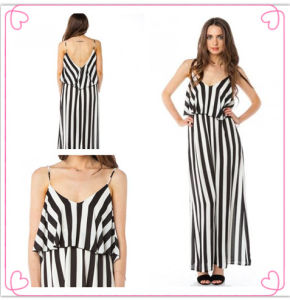 2013 Black/White Striped Maxi Dresses for Lady (Hsm4139)