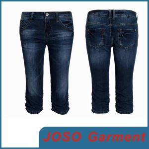Ladies Sexy Denim Knee Short Jeans (JC1077) pictures & photos