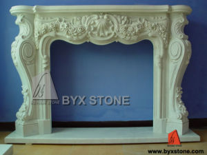 White Marble Stone Flower Carving Fireplace for Indoor pictures & photos