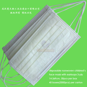 Disposable 1ply 2ply 3ply Operation Face Mask with Elastic Earloops pictures & photos
