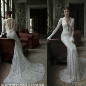Long Sleeves Sheer Pluning V-Neckline Suknie Berta Wedding Gowns S14818 pictures & photos